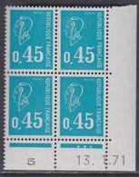 France N° 1663 XX Marianne De Bequet : 45 C. Bleu En Bloc De 4 Coin Daté Du 13 . 1 . 71, 3 Pts Blancs Sans Charnière, TB - 1970-1979