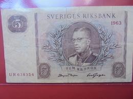 SUEDE 5 KRONOR 1963 CIRCULER - Svezia