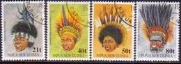 PAPUA NEW GUINEA 1991 SG #658-61 Compl.set Used Tribal Headdresses - Papua New Guinea