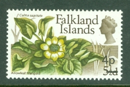 Falkland Is: 1971   QE II - Flowers - Decimal Currency Surcharge   SG269    4p On 5½d       MNH - Falkland