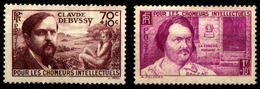 "France-YT437 + YT438 (1939) Neufs (*) (sans Gomme)  ""C.Debussy & H.de Balzac"" - France"