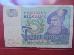 SUEDE 5 KRONOR 1978 CIRCULER - Suède