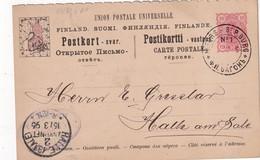 FINLANDE 1896  ENTIER POSTAL/ /POSTAL STATIONERY CARTE AVEC CACHET FERROVIAIRE/ZUGSTEMPEL DE HELSINGFORS A ST.PETERBURG - Ganzsachen