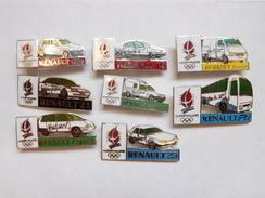 Superbe Série De 8 Pin's Sur Les JO Jeux Olympiques Albertville 92 Et Auto Renault - Renault