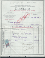 FACTURE DE 1924 DESCLERS SÉPULTURES À PARIS AVENUE RACHEL CIMETIÈRE DU NORD MONTMARTRE À Md JACQUINET À MEAUX : - France
