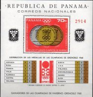 Grenoble Winter-Olympiade 1968 Panama Block 92 ** 20€ Gold-Medaille Keller Bloque Hoja Bloc Sport Sheet Bf Olympics - Panama