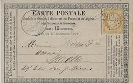 1876- Carte Précurseur Affr. N°59 Oblit. GC 2024 De Lezay (deux Sèvres ) - Marcophilie (Lettres)