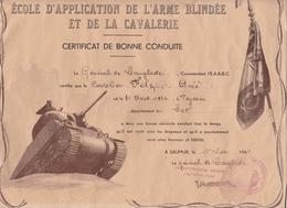 Certificat Bonne Conduite école Application Arme Blindée Et Cavalerie Illustré Char D Assaut Teyssieu Lot - Documenti