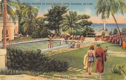 """M07983 """"HOTEL NACIONAL DE CUBA-PISCINA PRIVADA DE AGUA SALADA"""" ANIMATA-CARTOLINA POSTALE ORIGINALE SPEDITA 1948 - Cuba"""