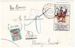 1915 Brief Mit Rotkreuz Vignette Hinten Und Vorne An Das Briefmarkenhaus Zumstein In Bern Mit Schweizer Strafportomarke - Slovénie