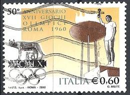 """Italia, 2010 Anniv. Dei Giochi Olimpici Di Roma """"60, 0.60 € # Sassone 3189 - Michel 3399 - Scott 3018 USATO - 6. 1946-.. Repubblica"""