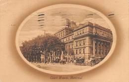 "M07985 ""MONTREAL-COURT HOUSE"" ANIMATA-CARROZZE A CAVALLO-CARTOLINA POSTALE ORIGINALE SPEDITA 1910 - Montreal"