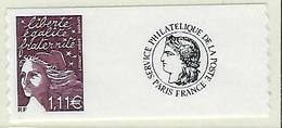 """FR Personnalisés YT 3729C """" Marianne 14 Juillet 1.11€ Adhésif """" 2004 Neuf** - Personnalisés"""