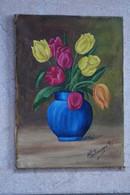 Superbe Peinture Huile Sur Toile Signé Verbruggen,Fleurs,Tulipes,dimensions 24 Cm./ 17 Cm. - Huiles