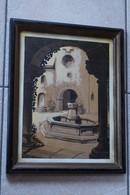 Dessin Aquarelle,Abbaye D'Orval,cour De L'hotellerie,signé Guelle 1951 ?,dimensions 40 Cm./ 31 Cm. - Huiles