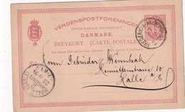 DANEMARK 1893    ENTIER POSTAL/GANZSACHE/POSTAL STATIONERY CARTE   AVEC CACHET FERROVIAIRE/ZUGSTEMPEL FREDERICIA-AALBO - Postal Stationery