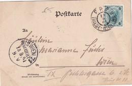 AUTRICHE 1901  CARTE   AVEC CACHET FERROVIAIRE/ZUGSTEMPEL  TRIEST-WIEN - 1850-1918 Empire