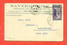 CENTENARIO MORTE SAN FRANCESCO-40 CENT. - 30/10/1926- DA MILANO PER SAMPIERDARENA-PUBBLICITARIE - Storia Postale
