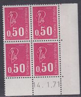 France N° 1664 XX Marianne De Bequet : 50 C. Carmin-rose En Bloc De 4 Coin Daté Du 14 . 1 . 71  Ss Phosphore Ss Ch., TB - Coins Datés
