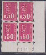 France N° 1664c XX Marianne De Bequet : 50 C. Carmin-rose En Bloc De 4 Coin Daté Du 28 . 12 . 72  3 Bdes Phosp Ss Ch, TB - Coins Datés