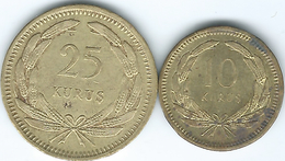 Turkey - 1956 - 10 Kurus (KM888) & 25 Kurus (KM886) - Turkije