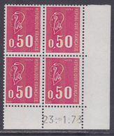 France N° 1664c XX Marianne De Bequet : 50 C. Carmin-rose En Bloc De 4 Coin Daté Du 23 . 1 . 73,  3 Bdes Phosp Ss Ch, TB - Coins Datés