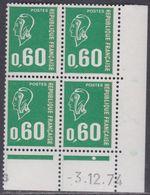 France N° 1814 XX Ma. Bequet : 60 C.vert En Bloc De 4 Coin Daté Du 3 . 12 . 74 , 1 Pt Blanc, 1 Bde Phosp Ss Ch., TB - Coins Datés