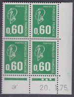 France N° 1814 XX Ma. Bequet : 60 C.vert En Bloc De 4 Coin Daté Du 20 . 1 . 75 , 3 Pts Blancs, 1 Bde Phosp Ss Ch., TB - Coins Datés