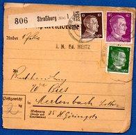 Colis Postal  -   Départ Strasbourg  -  06/2/1943   --abimée - Allemagne