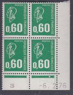 France N° 1814 XX Ma. Bequet : 60 C.vert En Bloc De 4 Coin Daté Du 6 . 2 . 76 , 1 Pt Blanc, 1 Bde Phosp Ss Ch., TB - Coins Datés