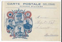 """1915 - CARTE FM REPONSE MILITAIRE """"JOFFRE PAU GALLIENI CASTELNAU"""" ECRITE à ST LAURENT DU VAR - Cartes De Franchise Militaire"""