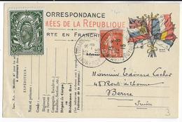 1915 - CARTE FM De CLERMONT-FERRAND => BERNE (SUISSE) Avec COMPLEMENT SEMEUSE - VIGNETTE De 1913 CONGRES INTERN. PHILAT - Marcophilie (Lettres)