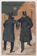 AI26 Christmas Greeting - 2 Men Shaking Hands, Embossed, Tuck - Christmas