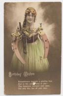 AI29 Children - Girl Holding A Large Horseshoe, Birthday Greeting - Children