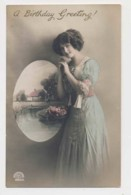 AI29 Glamour - Lady In A Long Green Dress - Birthday Greeting - Women
