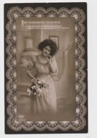 """AI29 Glamour - Lady With Flowers, """"The Charming Teacher"""" - RPPC - Women"""