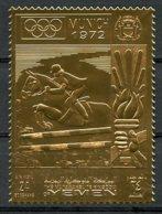 Yemen Kingdom, Olympic Summer Games Munich 1972, Horse Riding, Equestrian, Jumping, MNH Gold Foil, Perf, Michel 914A - Yémen
