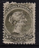 Canada 1868 Queen Victoria 5c Olive-green Used - SG 63a, Sc 26a, Perf 12 - Used Stamps