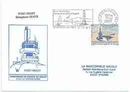 Secap De Le Verdon Sur Mer - Sémaphore De Pointe De Grave - Sur YT 3557 Porte-avions Charles De Gaulle - Postmark Collection (Covers)