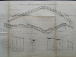 ANNALES DES PONTS Et CHAUSSEES - Plan Du Canal Du Centre Des écluses De Rully - Gravé Par Macquet 1892 (CLD53) - Zeekaarten