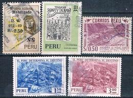 Peru 1957 / 74  -  Yvert  443 + 496 + 588 + 608 + 609  ( Usados ) - Peru