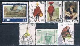 Peru 1971 / 74  -  Yvert   AEREOS  301 + 344 + 346 + 347 + 349 + 359 + 391  ( Usados ) - Perú
