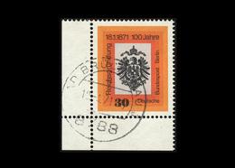 Berlin 1971, Michel-Nr. 385, 100. Jahrestag Der Reichsgründung, 30 Pf., Eckrand Links Unten, Gestempelt - Berlin (West)