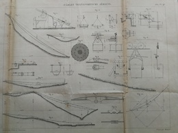 ANNALES PONTS Et CHAUSSEES - Plan Des Câbles Transporteurs Aériens - Graveur Macquet 1887 (CLD60) - Máquinas