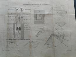 ANNALES DES PONTS Et CHAUSSEES - Plan Des Fondations A L'Air Comprimé - Graveur E.Pérot 1883 (CLD61) - Travaux Publics