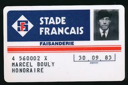 Carte (1983) Membre Honoraire, Club Sportif STADE FRANCAIS (Paris), La Faisanderie, Marcel Bouly, Carte Plastifiée Dure - Unclassified