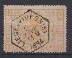Belgique - 1879-82 - Obl. - COB TR5 - 80 C - Cachet LIEGE VIVEGNIS - 1884 -  Valeur 75 - Ferrovie