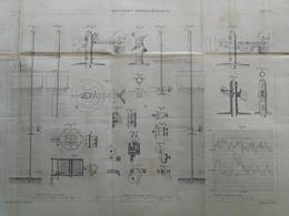 ANNALES DES PONTS Et CHAUSSEES - Plan D'un Moulinet Hydrométrique - Graveur E.Pérot 1883 (CLD62) - Máquinas