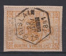 Belgique - 1879-82 - Obl. - COB TR5 - 80 C - Cachet ST. GHISLAIN - 1881 -  Valeur 75 - Chemins De Fer
