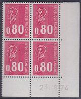 France N° 1816 XX Marianne De Bequet : 80 C. Rouge En Bloc De 4 Coin Daté Du 23 . 8 . 74 ;  3 Bdes Phosp Ss Ch., TB - Hoekdatums